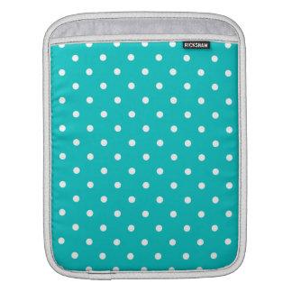 White dots, Teal Polka Dot Pattern. iPad Sleeves