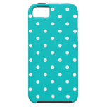 White dots, Teal Polka Dot Pattern. iPhone 5 Cases