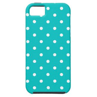 White dots, Teal Polka Dot Pattern. iPhone SE/5/5s Case