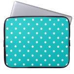 White dots, Teal Polka Dot Pattern. Laptop Computer Sleeves