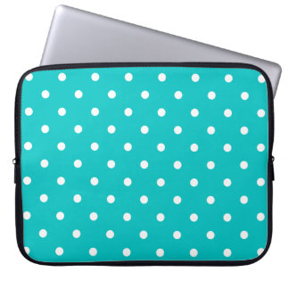 White dots, Teal Polka Dot Pattern. Laptop Sleeve