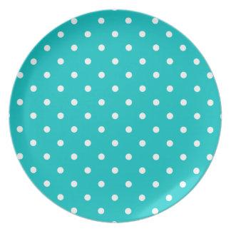 White dots, Teal Polka Dot Pattern. Melamine Plate