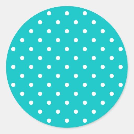 White dots, Teal Polka Dot Pattern. Round Sticker