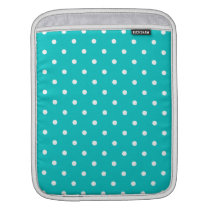White dots, Teal Polka Dot Pattern. Sleeve For iPads