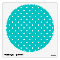 White dots, Teal Polka Dot Pattern. Wall Sticker
