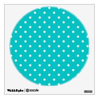 White dots, Teal Polka Dot Pattern. Wall Sticker