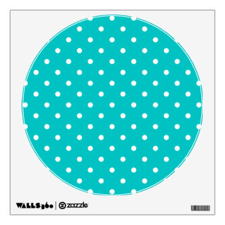 White dots, Teal Polka Dot Pattern. Room Stickers