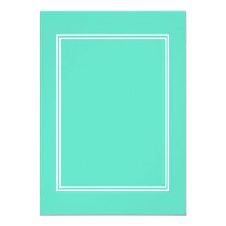 White Double Border on Aqua Blue 5x7 Paper Invitation Card