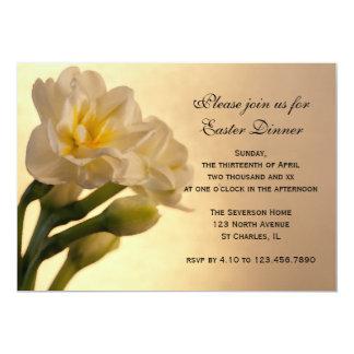 White Double Daffodil Flowers Easter Dinner Invite