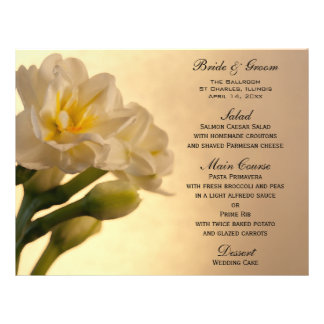 White Double Daffodil Flowers Wedding Menu