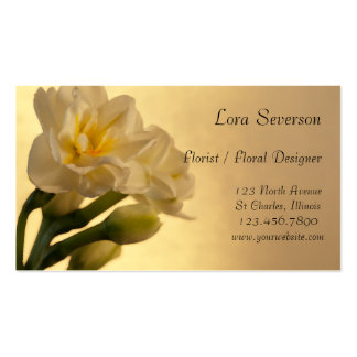 White Double Daffodils Business Cards