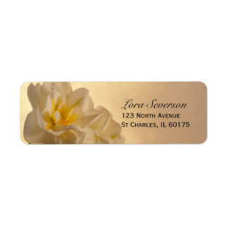 White Double Daffodils Return Address Label