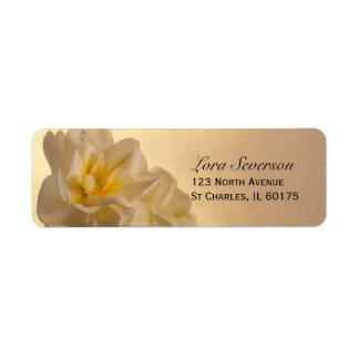 White Double Daffodils Return Address Label