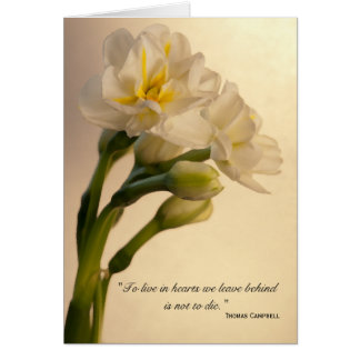 White Double Daffodils Sympathy Thank You Note Card