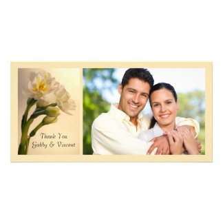 White Double Daffodils Thank You Photo Card