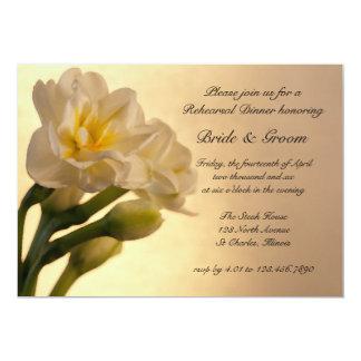 White Double Daffodils Wedding Rehearsal Dinner Card