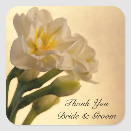 White Double Daffodils Wedding Thank You Stickers