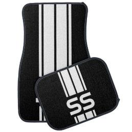White Double Race Stripes | Personalize Car Mat