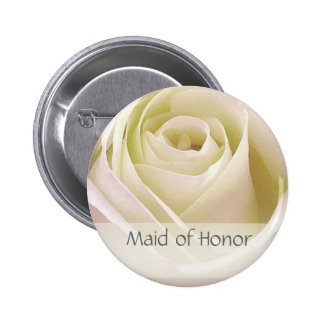 White double rose Maid of Honor Pinback Button