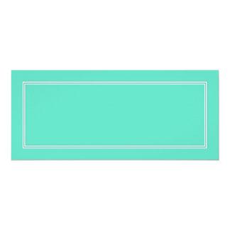 White Double Shadow Border on Aqua Blue 4x9.25 Paper Invitation Card