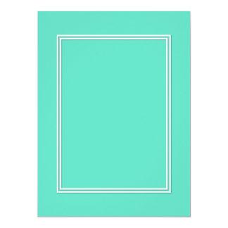 White Double Shadow Border on Aqua Blue 6.5x8.75 Paper Invitation Card