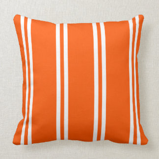 White Double Stripes on Summer Orange Throw Pillow