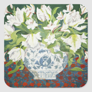 White double tulips and alstroemerias 2013 square sticker