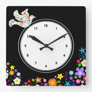 White Dove and flowers wall clock