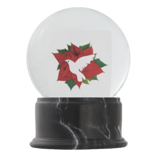 White Dove And Poinsettia Snow Globe