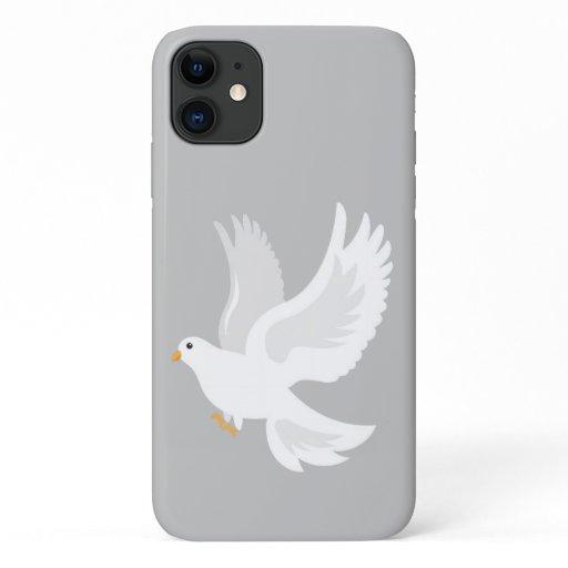 White dove bird on grey iPhone 11 case