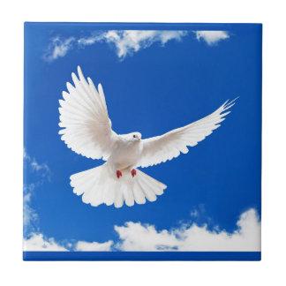 White Dove Bird Peace Love Flying Sky Tile