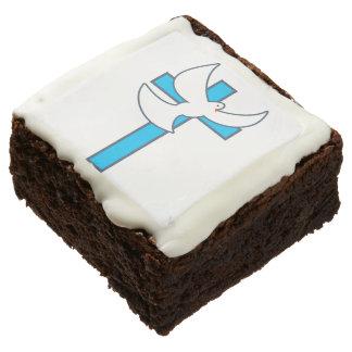 White Dove Blue Cross Inspirational Brownie
