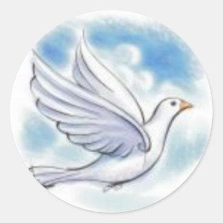 white dove classic round sticker