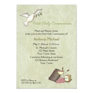 White Dove, First Communion Symbols, Green Invitations