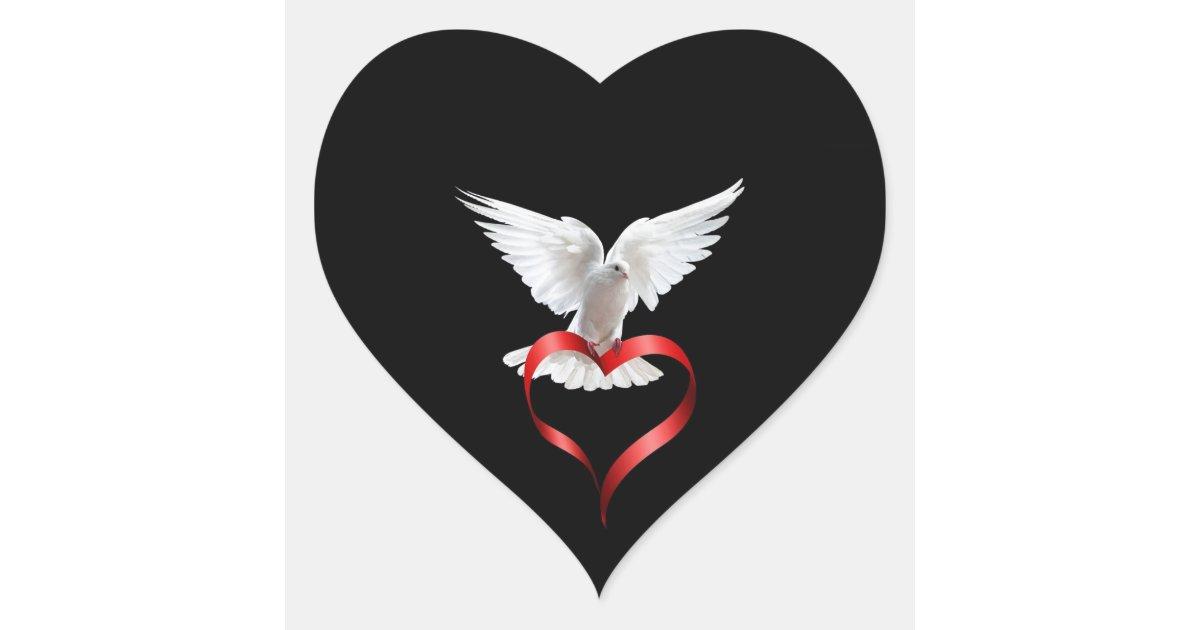 White Dove Heart Sticker Zazzle Com