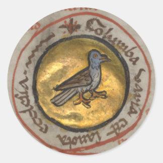 White Dove in a Gold Medallion Classic Round Sticker