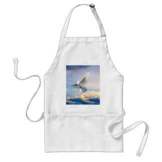 White dove in flight apron