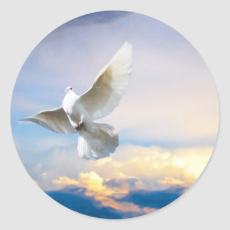 White dove in flight classic round sticker