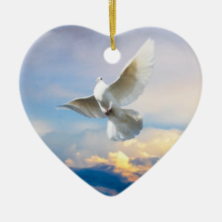 White dove in flight Double-Sided heart ceramic christmas ornament
