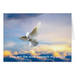 White dove in flight greeting card