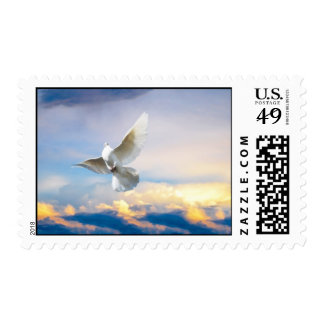 White dove in flight postage