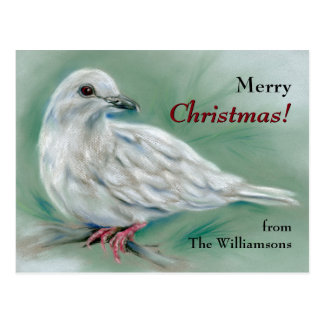 White Dove in the Pine Personalized Christmas Postcard