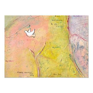 White dove love map art memory bird romantic large card