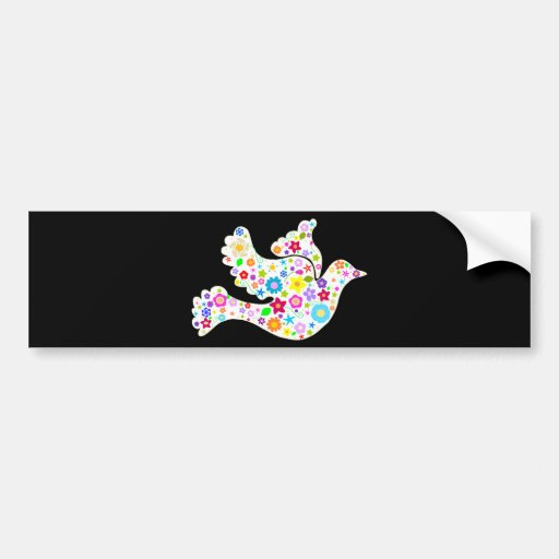 White Dove of Flowers Bumper Stickers