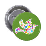 White Dove of Flowers Pinback Button