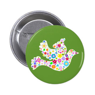 White Dove of Flowers Pins