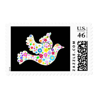 White Dove of flowers Postage Stamps