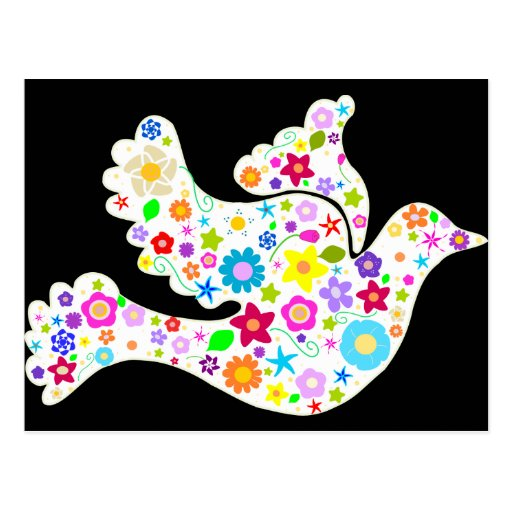 White Dove of Flowers Postcard