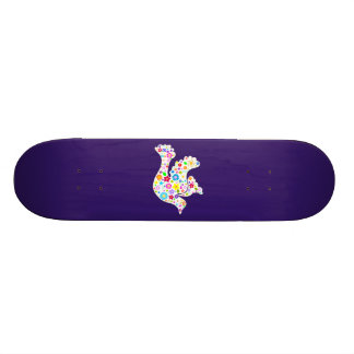 White Dove of flowers Skateboard Deck
