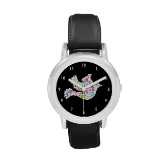 White Dove of Flowers Wristwatches